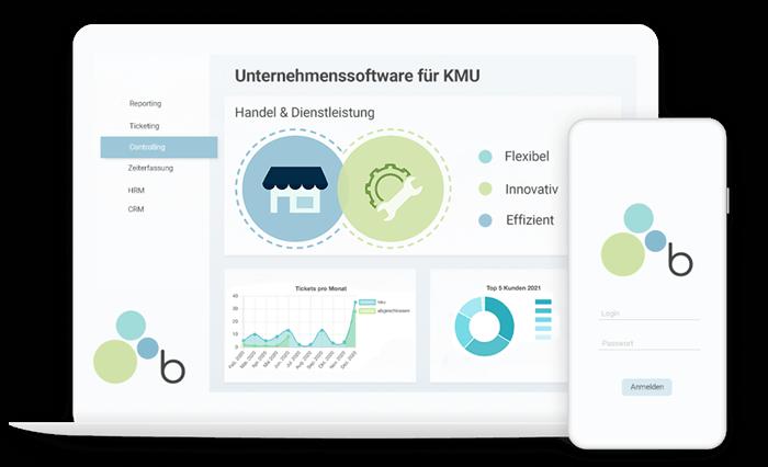 Illustration der Unternehmenssoftware / Warenwirtschaftssoftware für KMU Handel und Dienstleistung aus Österreich