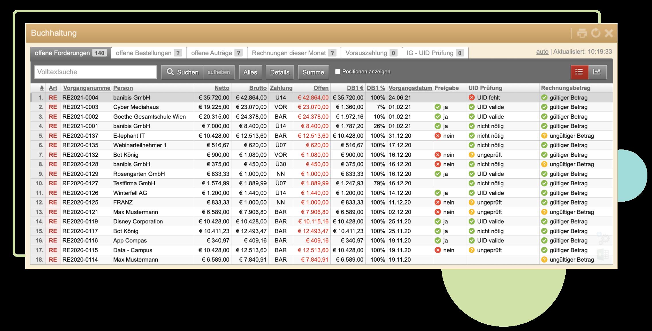 ERP-Screenshot auf dem die Verwenung der CHecks ersichtlich sind. Zum Beispiel UID valide/ UID fehlt