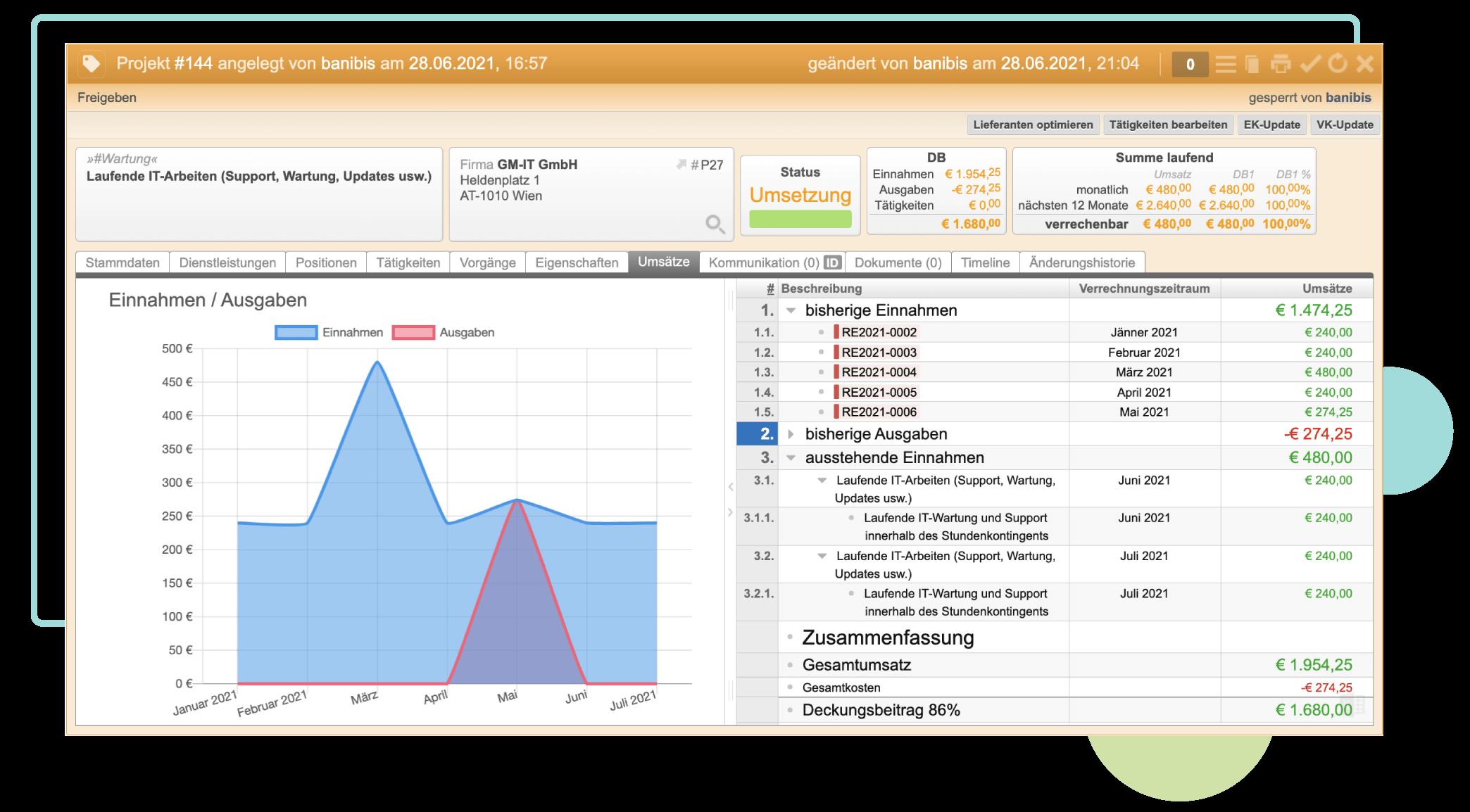 ERP-Screenshot von der Projekt Übersicht inkl. Einnahmen/Ausgaben Diagramm